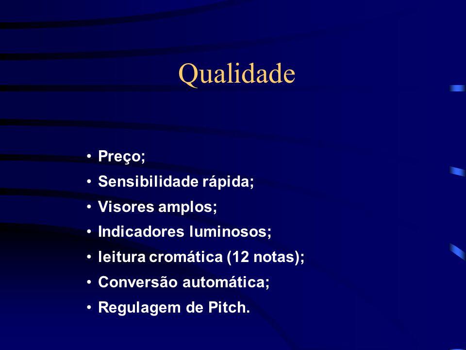 Qualidade Preço; Sensibilidade rápida; Visores amplos; Indicadores luminosos; leitura cromática (12 notas); Conversão automática; Regulagem de Pitch.