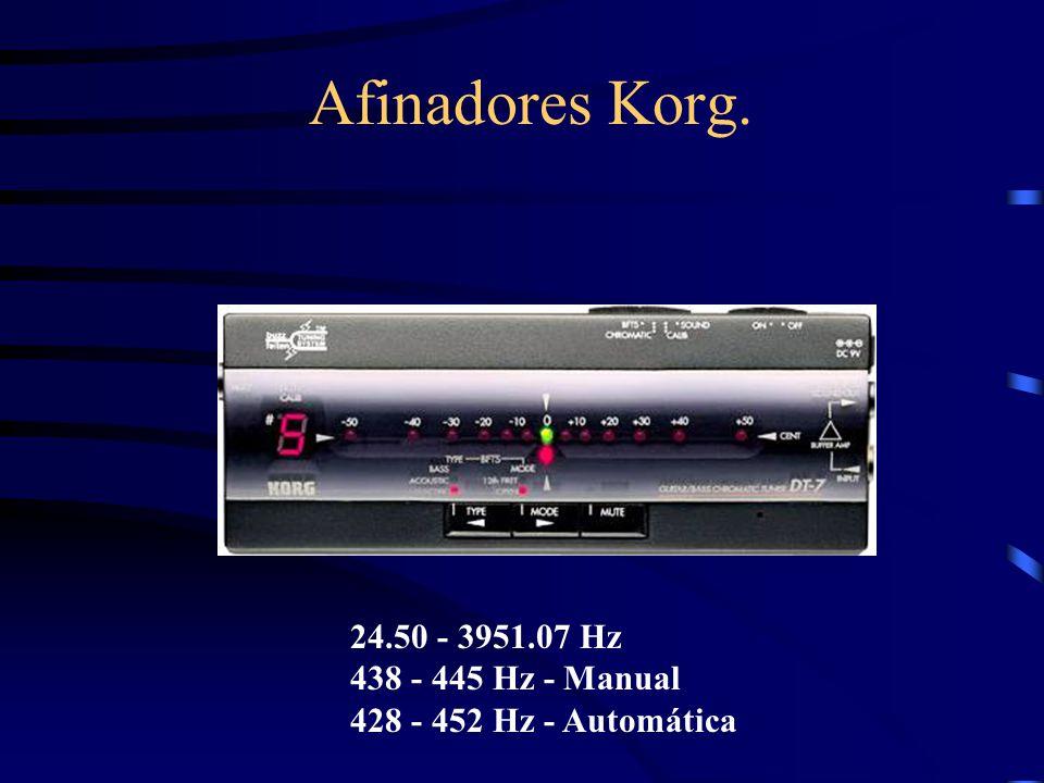 Afinadores Korg. 24.50 - 3951.07 Hz 438 - 445 Hz - Manual 428 - 452 Hz - Automática