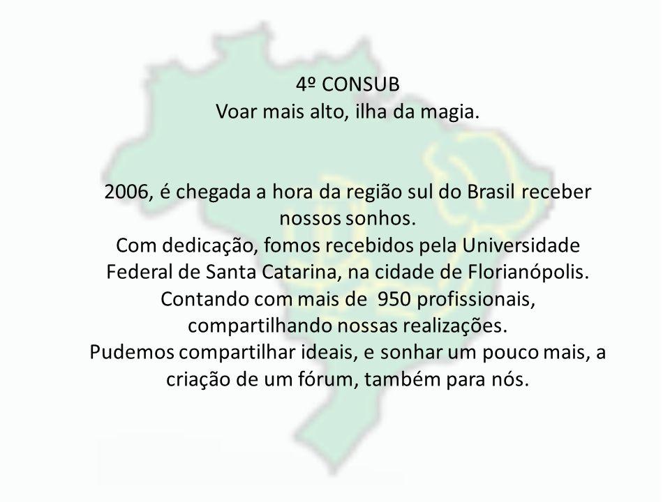 4º CONSUB Voar mais alto, ilha da magia. 2006, é chegada a hora da região sul do Brasil receber nossos sonhos. Com dedicação, fomos recebidos pela Uni