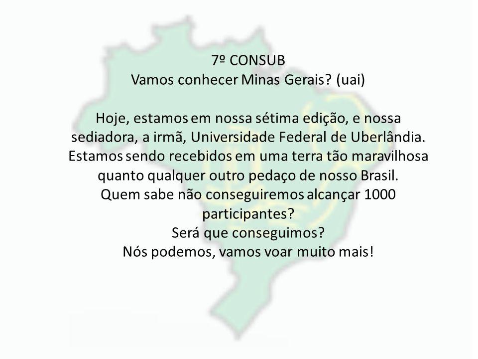7º CONSUB Vamos conhecer Minas Gerais? (uai) Hoje, estamos em nossa sétima edição, e nossa sediadora, a irmã, Universidade Federal de Uberlândia. Esta