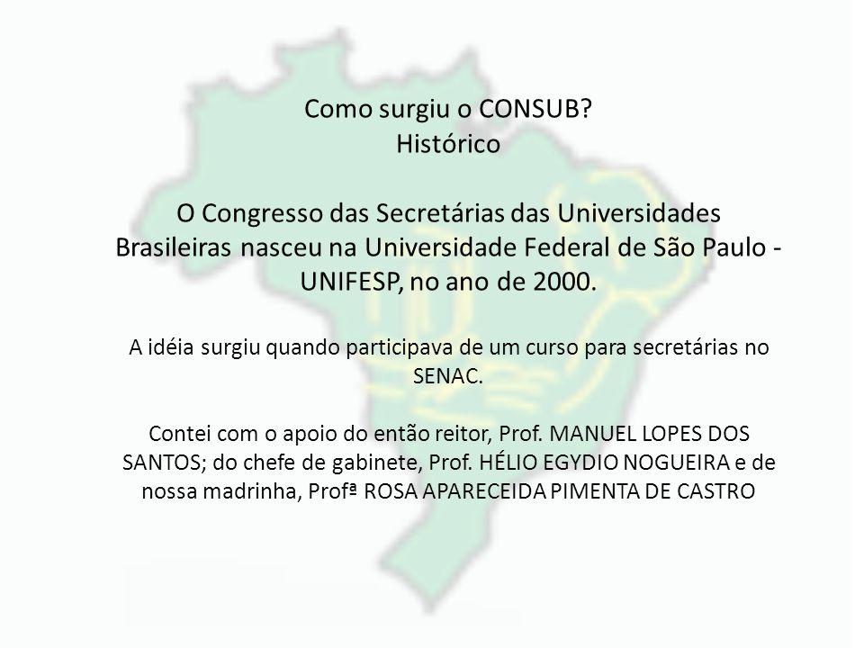Como surgiu o CONSUB? Histórico O Congresso das Secretárias das Universidades Brasileiras nasceu na Universidade Federal de São Paulo - UNIFESP, no an