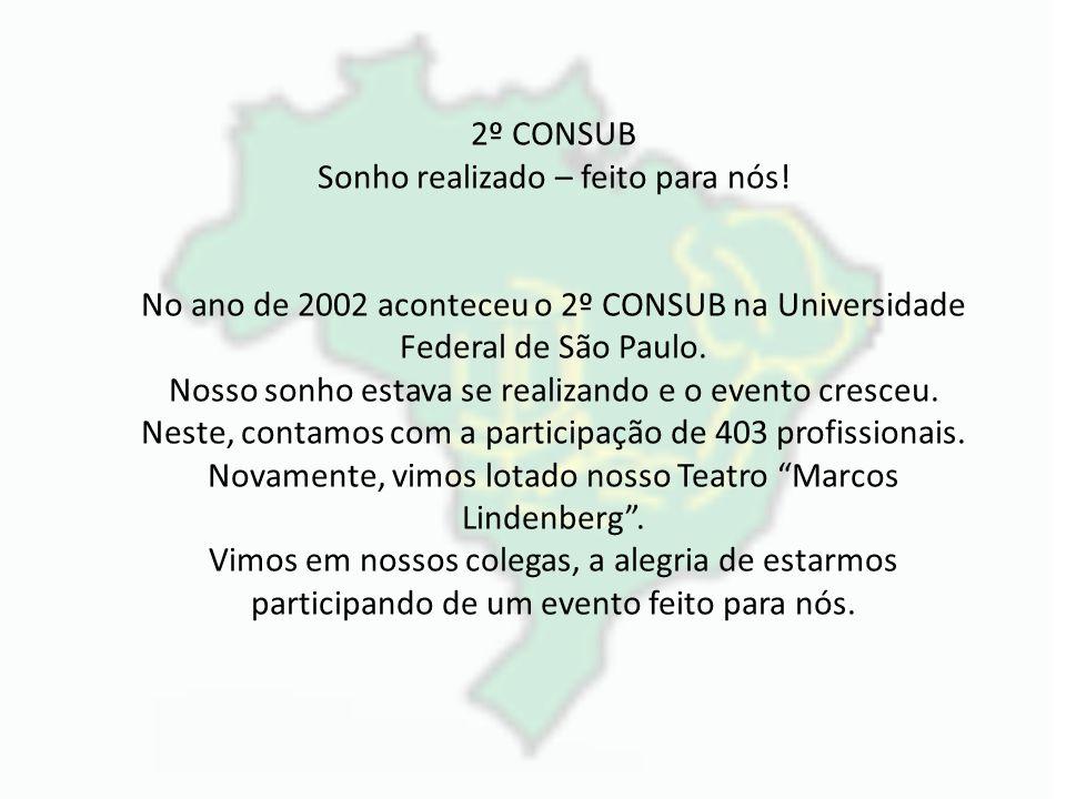 2º CONSUB Sonho realizado – feito para nós! No ano de 2002 aconteceu o 2º CONSUB na Universidade Federal de São Paulo. Nosso sonho estava se realizand