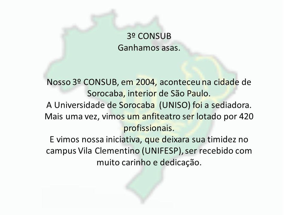 3º CONSUB Ganhamos asas. Nosso 3º CONSUB, em 2004, aconteceu na cidade de Sorocaba, interior de São Paulo. A Universidade de Sorocaba (UNISO) foi a se
