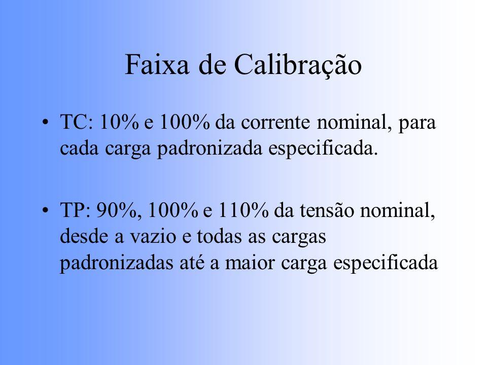 Faixa de Calibração TC: 10% e 100% da corrente nominal, para cada carga padronizada especificada. TP: 90%, 100% e 110% da tensão nominal, desde a vazi