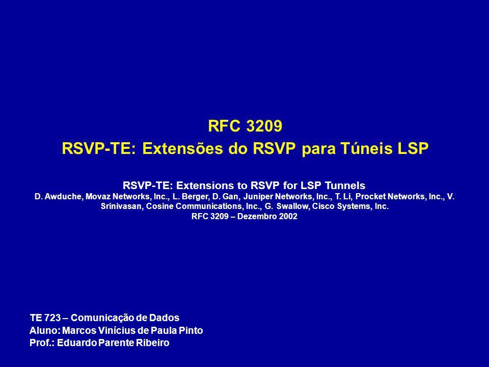 Objetos Relacionados ao Túnel LSP RECORD_ROUTE – IPv4 address 0 1 2 3 0 1 2 3 4 5 6 7 8 9 0 1 2 3 4 5 6 7 8 9 0 1 2 3 4 5 6 7 8 9 0 1 +-+-+-+-+-+-+-+-+-+-+-+-+-+-+-+-+-+-+-+-+-+-+-+-+-+-+-+-+-+-+-+-+   Type   Length   IPv4 address (4 bytes)   +-+-+-+-+-+-+-+-+-+-+-+-+-+-+-+-+-+-+-+-+-+-+-+-+-+-+-+-+-+-+-+-+   IPv4 address (continued)   Prefix Length   Flags   +-+-+-+-+-+-+-+-+-+-+-+-+-+-+-+-+-+-+-+-+-+-+-+-+-+-+-+-+-+-+-+-+ Type 0x01 Endereço IPv4 Length O campo comprimento contém o total em bytes do subobjeto, incluindo os campos Type e Length.