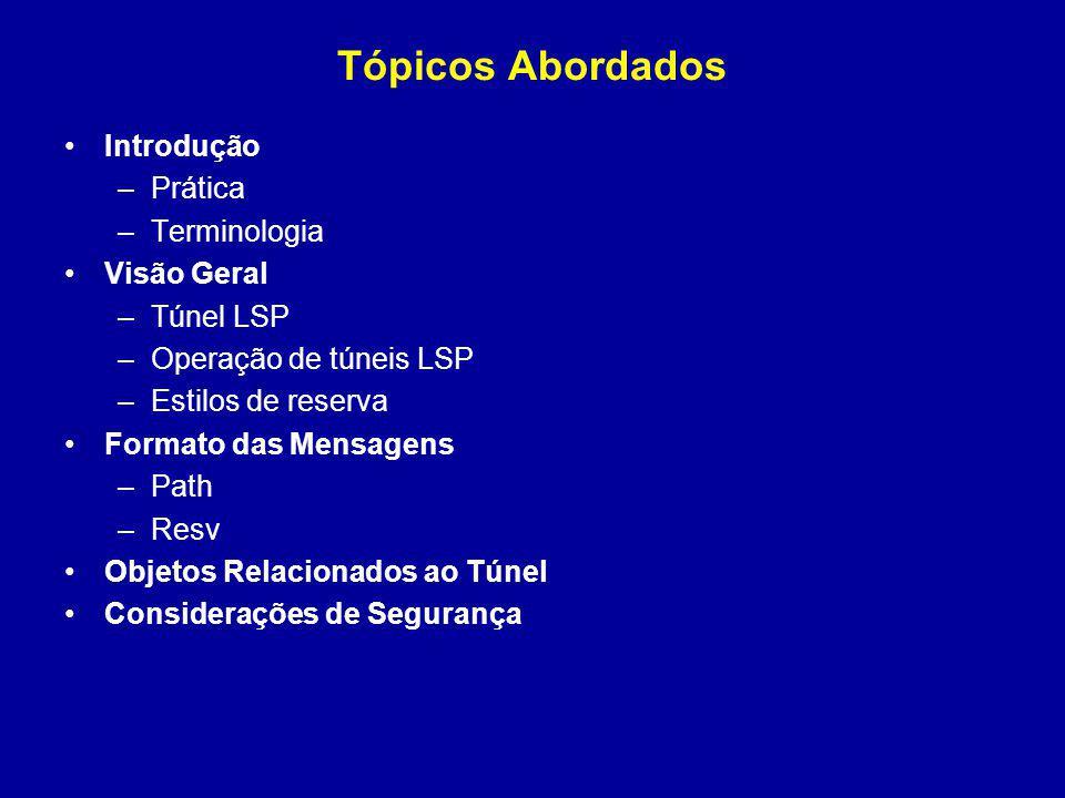 Tópicos Abordados Introdução –Prática –Terminologia Visão Geral –Túnel LSP –Operação de túneis LSP –Estilos de reserva Formato das Mensagens –Path –Re