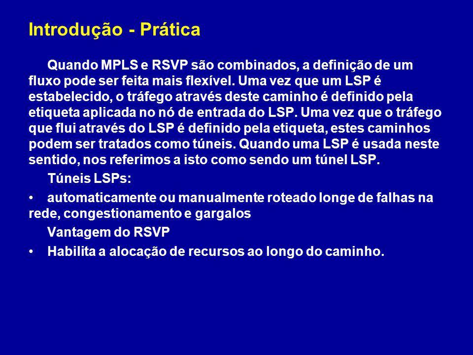 Introdução - Prática Quando MPLS e RSVP são combinados, a definição de um fluxo pode ser feita mais flexível. Uma vez que um LSP é estabelecido, o trá