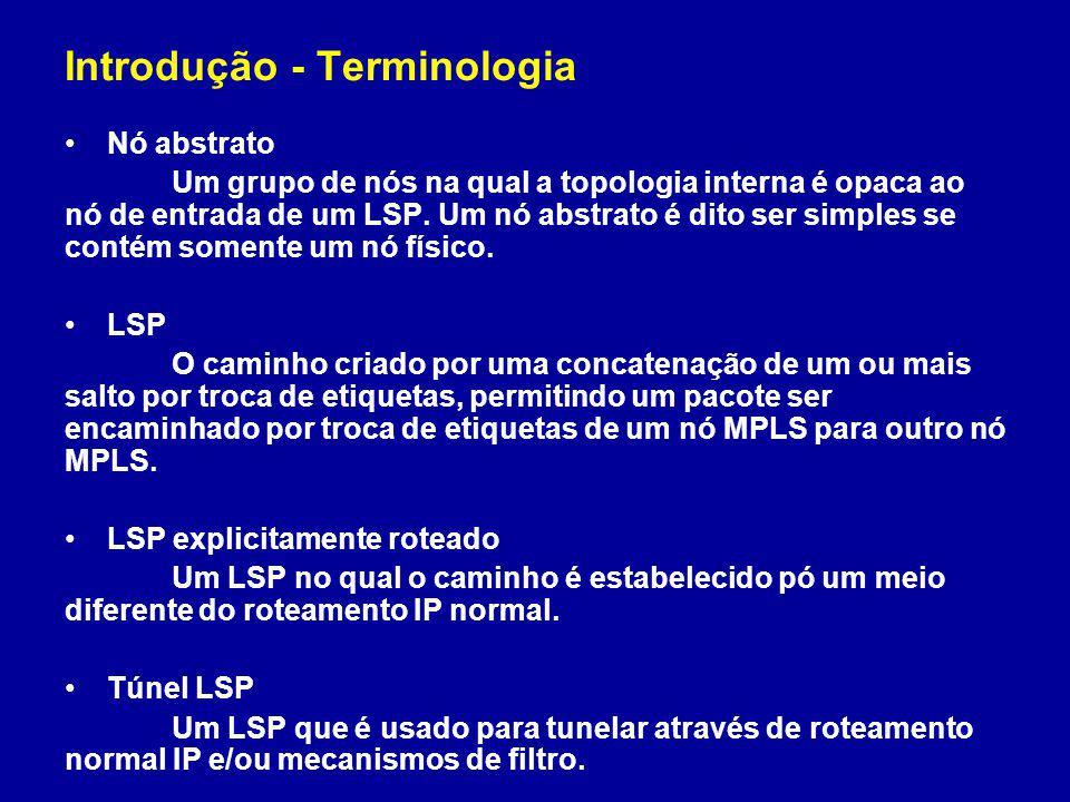 Introdução - Terminologia Nó abstrato Um grupo de nós na qual a topologia interna é opaca ao nó de entrada de um LSP. Um nó abstrato é dito ser simple