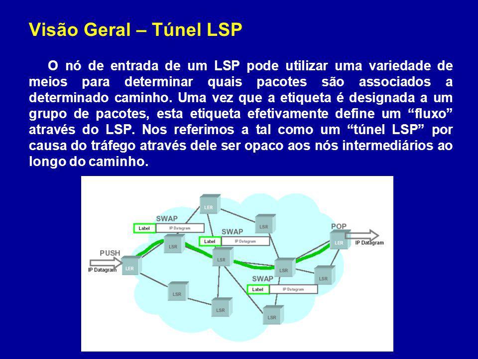 Visão Geral – Operação de túneis LSP Características suportadas pelo RSVP (1) a capacidade de estabelecer túneis LSP com ou sem necessidade de QoS, (2) a capacidade de re-rotear dinamicamente um túnel LSP estabelecido, (3) a capacidade de observar a rota atual estabelecida pelo túnel, (4) a capacidade de identificar e diagnosticar túneis LSP, (5) a capacidade de ocupar um túnel LSP estabelecido sobre política de controle administrativa, (6) a capacidade de promover alocação, distribuição e junção de etiquetas