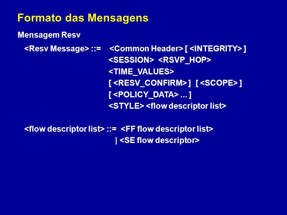 Formato das Mensagens Mensagem Resv ::= [ ] [ ] [ ] [... ] ::= |