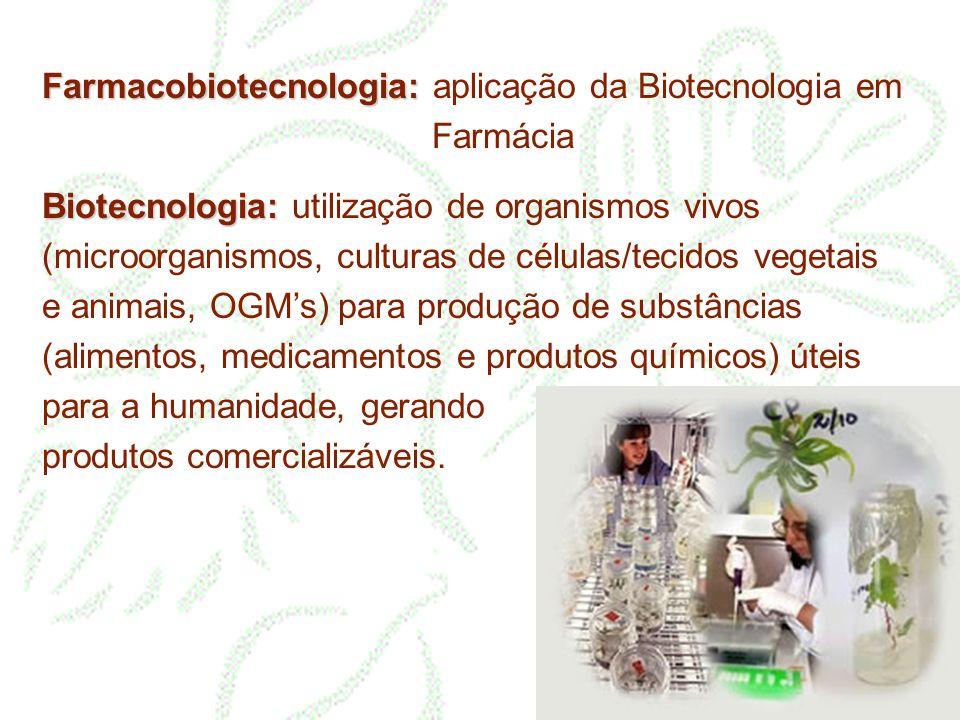 Farmacobiotecnologia: Farmacobiotecnologia: aplicação da Biotecnologia em Farmácia Biotecnologia: Biotecnologia: utilização de organismos vivos (micro