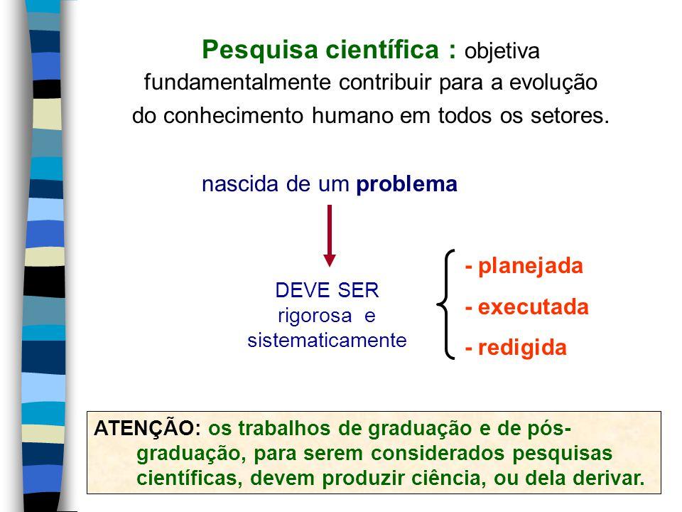 DEVE SER rigorosa e sistematicamente nascida de um problema Pesquisa científica : objetiva fundamentalmente contribuir para a evolução do conhecimento