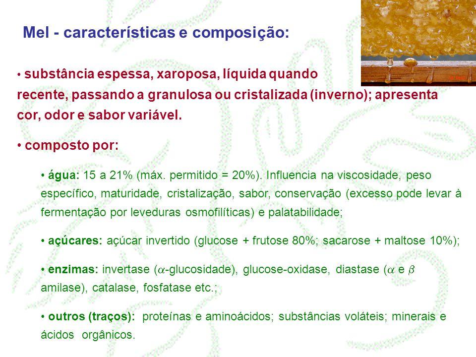 Mel - características e composição: substância espessa, xaroposa, líquida quando recente, passando a granulosa ou cristalizada (inverno); apresenta co