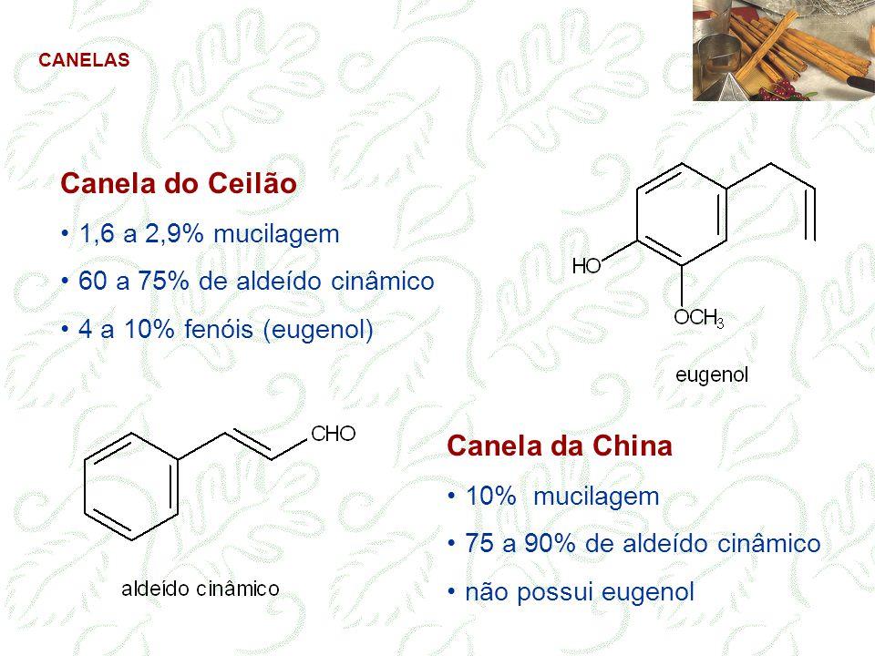 Canela do Ceilão 1,6 a 2,9% mucilagem 60 a 75% de aldeído cinâmico 4 a 10% fenóis (eugenol) Canela da China 10% mucilagem 75 a 90% de aldeído cinâmico