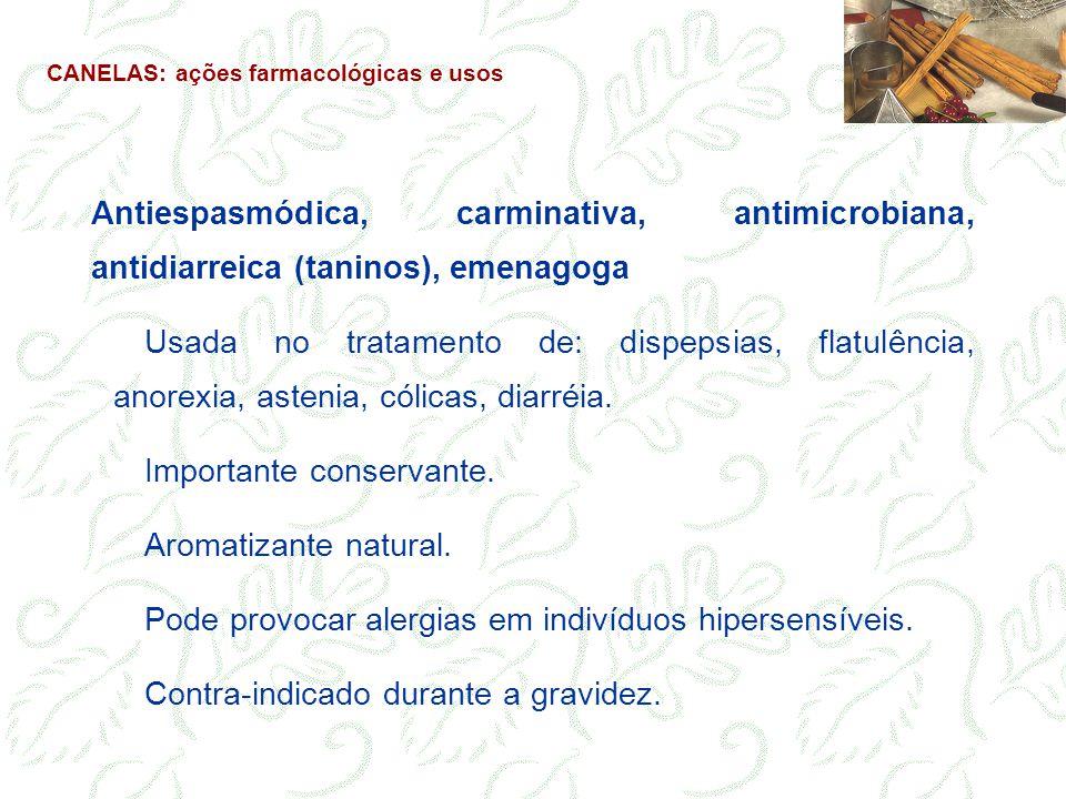 Antiespasmódica, carminativa, antimicrobiana, antidiarreica (taninos), emenagoga Usada no tratamento de: dispepsias, flatulência, anorexia, astenia, c