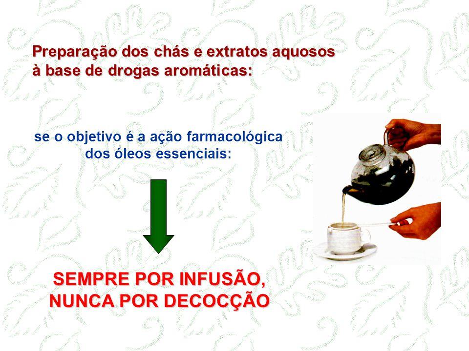 Preparação dos chás e extratos aquosos à base de drogas aromáticas: SEMPRE POR INFUSÃO, NUNCA POR DECOCÇÃO se o objetivo é a ação farmacológica dos ól
