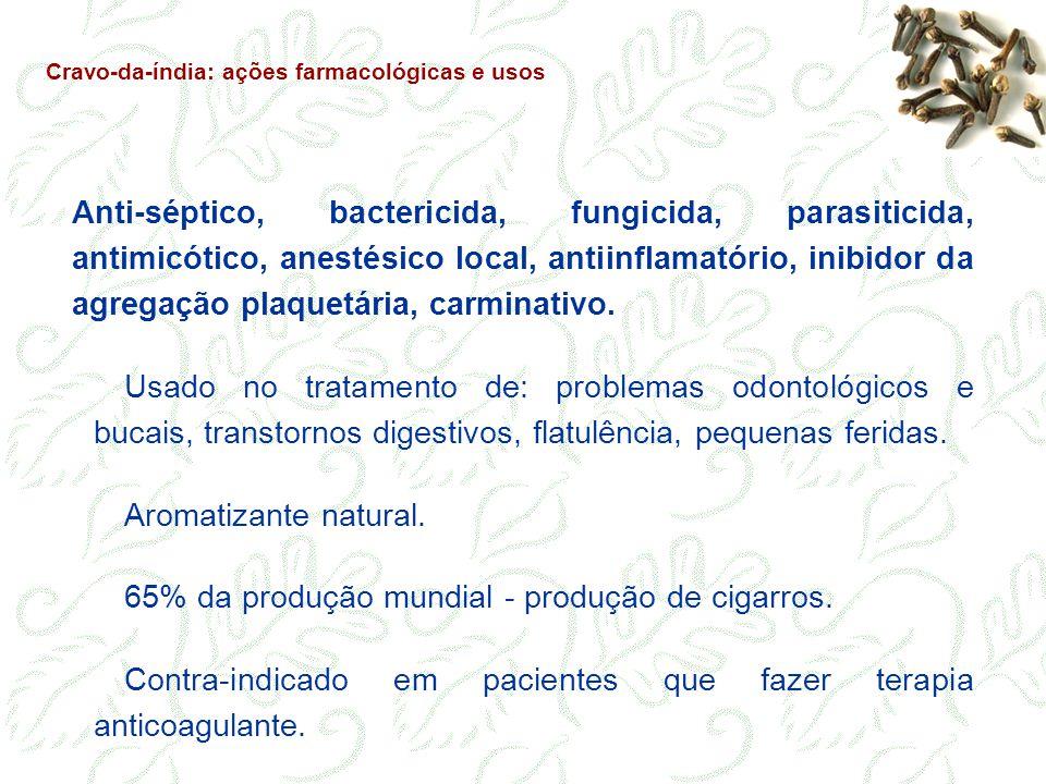 Anti-séptico, bactericida, fungicida, parasiticida, antimicótico, anestésico local, antiinflamatório, inibidor da agregação plaquetária, carminativo.