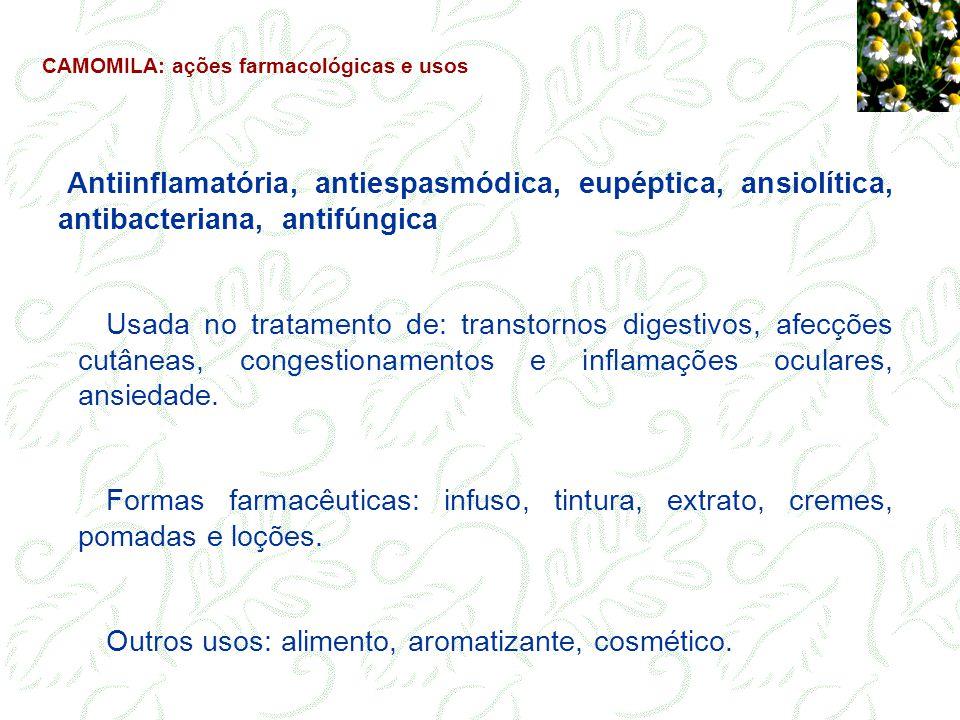 Lactonas sesquiterpênicas podem provocar reações alérgicas em indivíduos hipersensíveis: dermatite de contato (casos excepcionais - somente 5 casos relatados).
