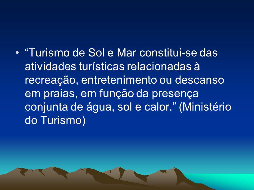 Turismo de Sol e Mar constitui-se das atividades turísticas relacionadas à recreação, entretenimento ou descanso em praias, em função da presença conj