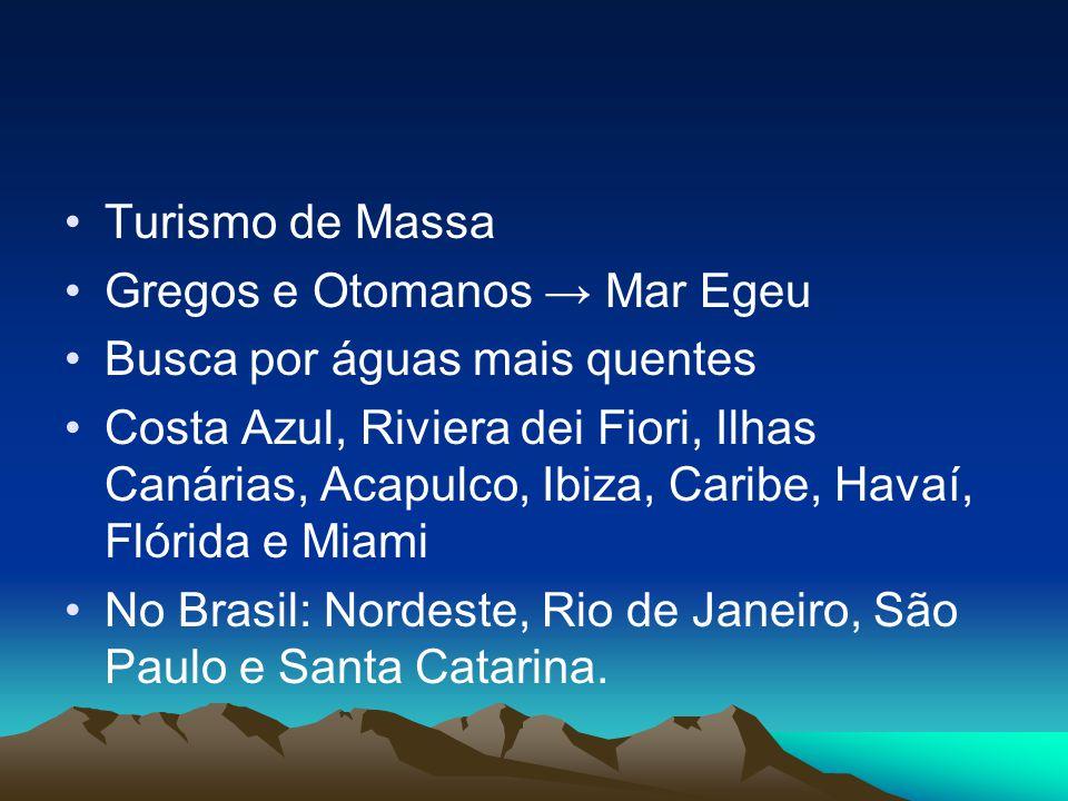 Turismo de Massa Gregos e Otomanos Mar Egeu Busca por águas mais quentes Costa Azul, Riviera dei Fiori, Ilhas Canárias, Acapulco, Ibiza, Caribe, Havaí