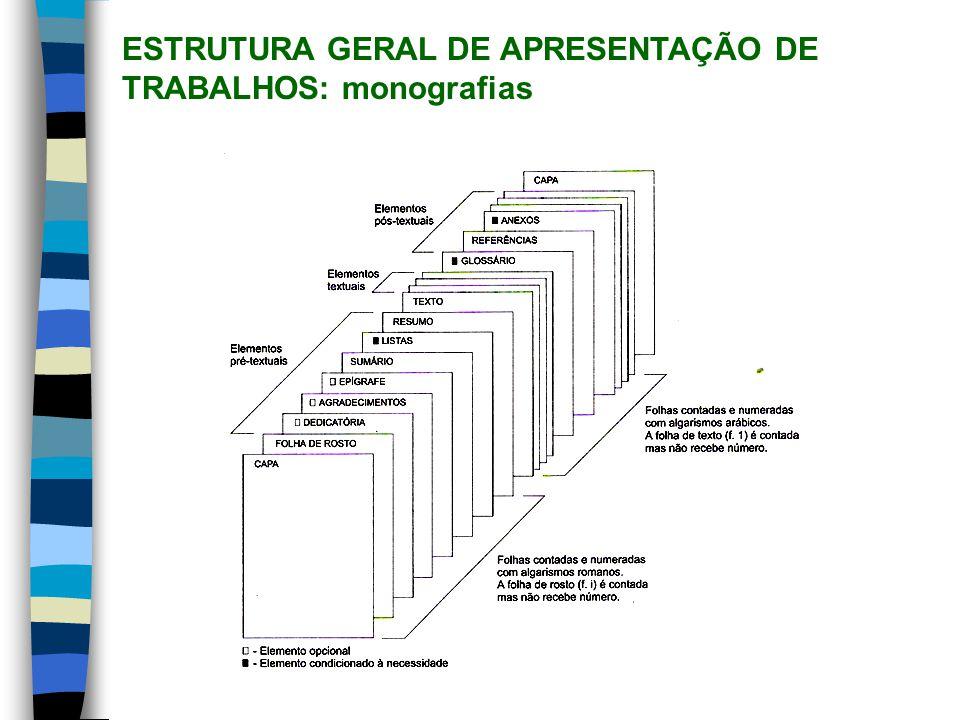 ESTRUTURA GERAL DE APRESENTAÇÃO DE TRABALHOS: trabalhos acadêmicos