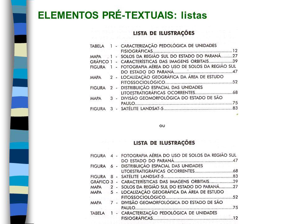 ELEMENTOS PRÉ-TEXTUAIS: listas (contin.)