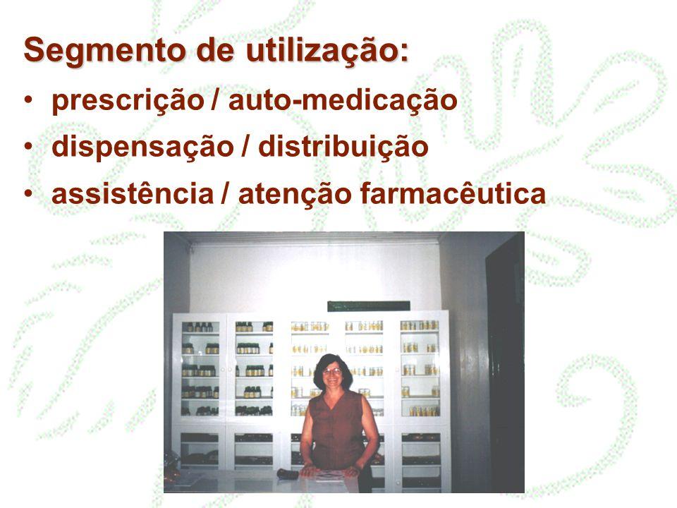 Segmento de utilização: prescrição / auto-medicação dispensação / distribuição assistência / atenção farmacêutica