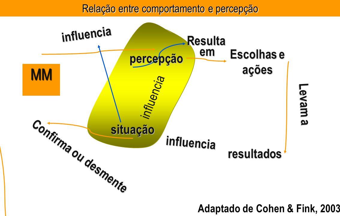 situação MM influencia influencia resultados influencia Confirma ou desmente Escolhas e ações Levam a percepçãoResultaem Adaptado de Cohen & Fink, 2003 Relação entre comportamento e percepção