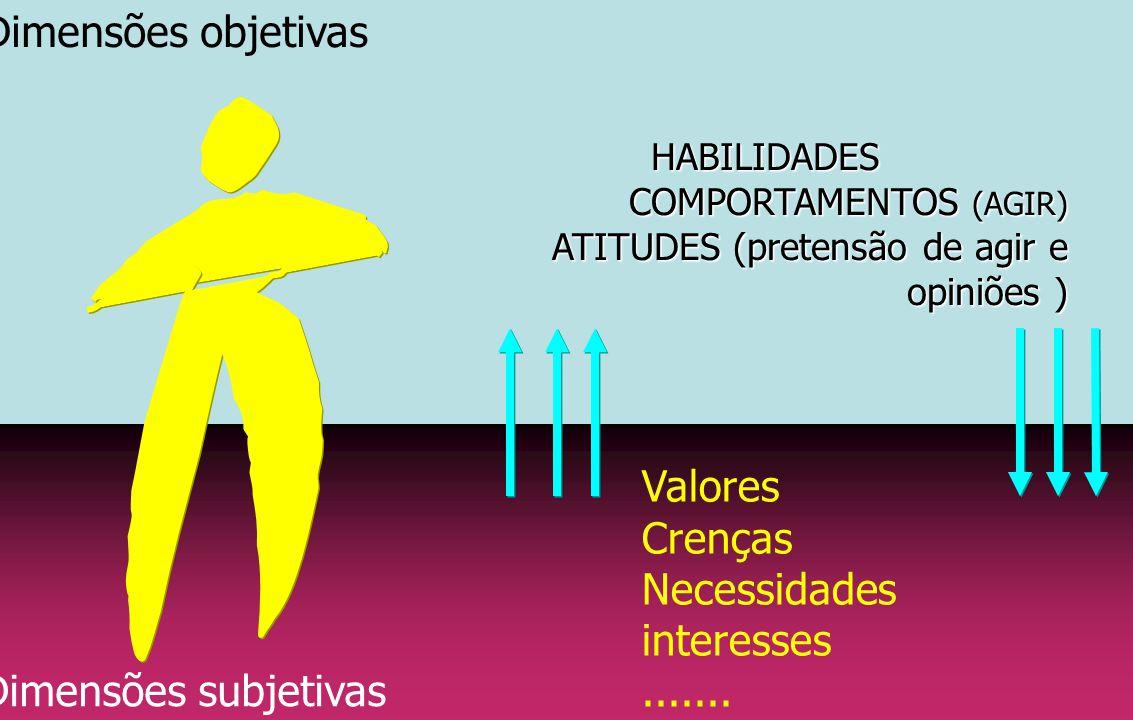 Dimensões subjetivas Dimensões objetivasHABILIDADES COMPORTAMENTOS (AGIR) ATITUDES (pretensão de agir e opiniões ) Valores Crenças Necessidades intere