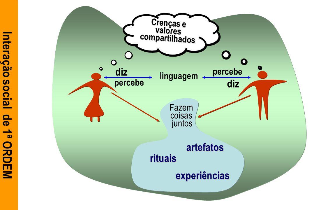 linguagem diz percebe Fazem coisas juntos rituais experiências artefatos Crenças e valores compartilhados compartilhados Interação social de 1ª ORDEM