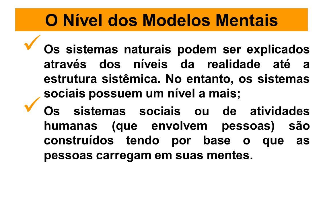 O Nível dos Modelos Mentais Os sistemas naturais podem ser explicados através dos níveis da realidade até a estrutura sistêmica.