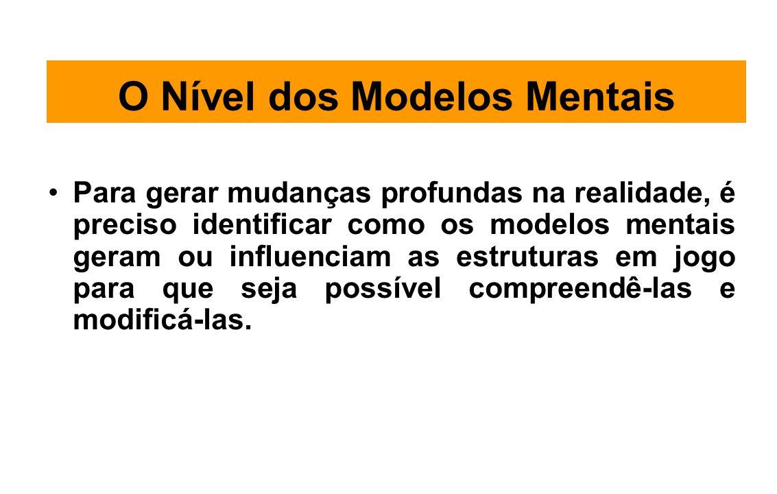 O Nível dos Modelos Mentais Para gerar mudanças profundas na realidade, é preciso identificar como os modelos mentais geram ou influenciam as estruturas em jogo para que seja possível compreendê-las e modificá-las.
