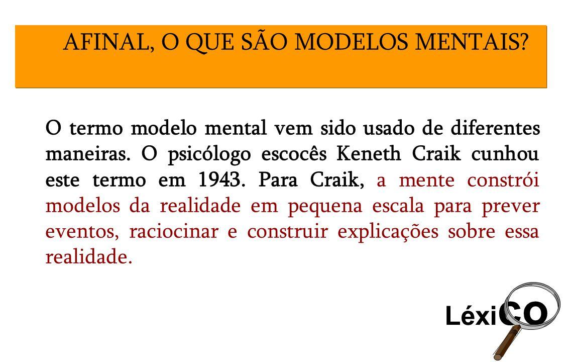 O termo modelo mental vem sido usado de diferentes maneiras. O psicólogo escocês Keneth Craik cunhou este termo em 1943. Para Craik, a mente constrói
