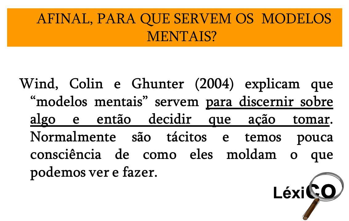Wind, Colin e Ghunter (2004) explicam que modelos mentais servem para discernir sobre algo e então decidir que ação tomar. Normalmente são tácitos e t