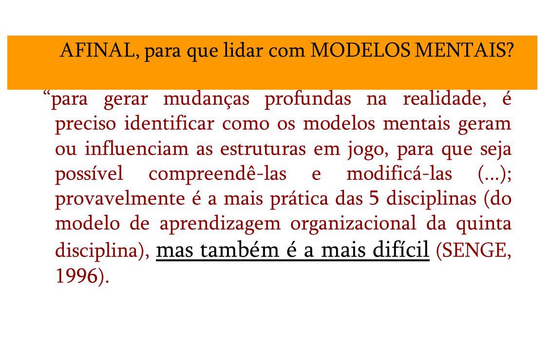 para gerar mudanças profundas na realidade, é preciso identificar como os modelos mentais geram ou influenciam as estruturas em jogo, para que seja possível compreendê-las e modificá-las (...); provavelmente é a mais prática das 5 disciplinas (do modelo de aprendizagem organizacional da quinta disciplina), mas também é a mais difícil (SENGE, 1996).