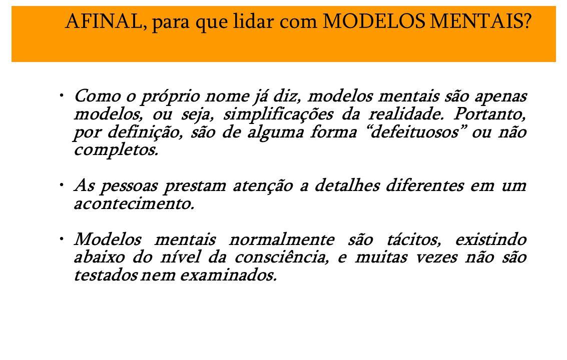 Como o próprio nome já diz, modelos mentais são apenas modelos, ou seja, simplificações da realidade. Portanto, por definição, são de alguma forma def