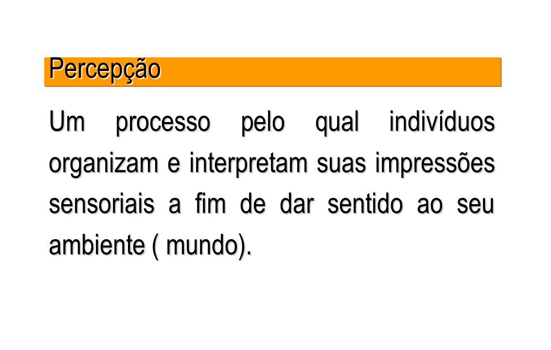 Um processo pelo qual indivíduos organizam e interpretam suas impressões sensoriais a fim de dar sentido ao seu ambiente ( mundo). PercepçãoPercepção