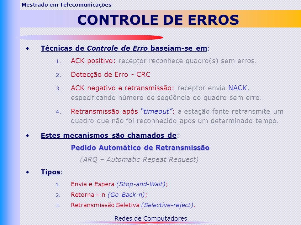 Redes de Computadores Mestrado em Telecomunicações CONTROLE DE ERROS Técnicas de Controle de Erro baseiam-se em: 1.