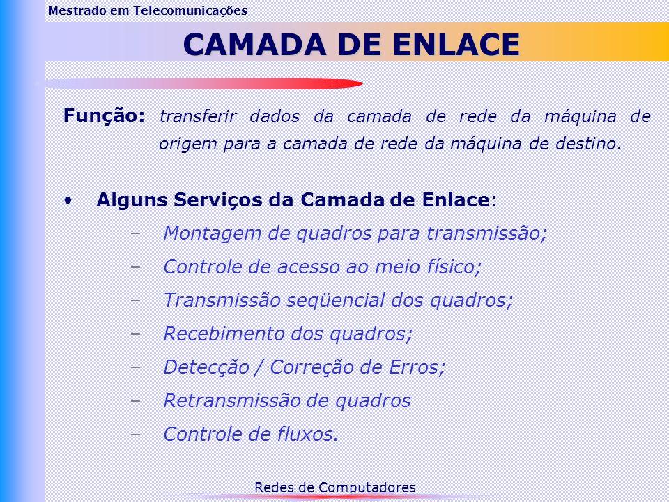 Redes de Computadores Serviços Fornecidos à Camada de Rede: 1.