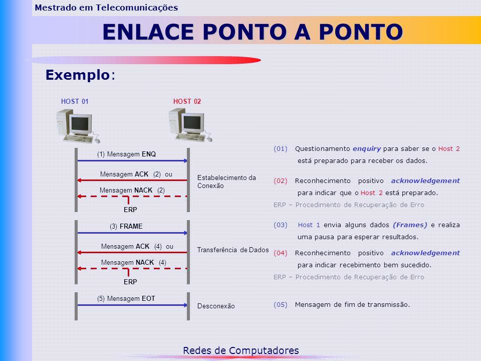Redes de Computadores Mestrado em Telecomunicações ENLACE PONTO A PONTO (1) Mensagem ENQ Mensagem ACK (2) ou Mensagem NACK (2) ERP (3) FRAME Mensagem ACK (4) ou Mensagem NACK (4) ERP (5) Mensagem EOT (01) Questionamento enquiry para saber se o Host 2 está preparado para receber os dados.