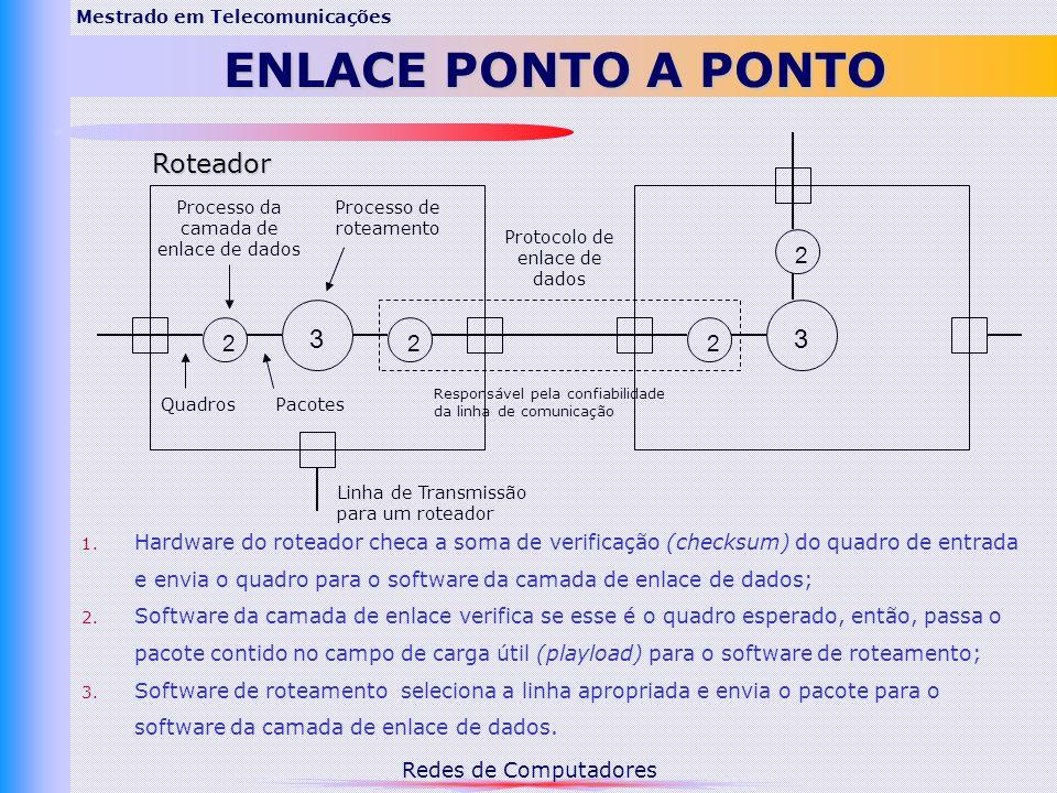 Redes de Computadores Mestrado em TelecomunicaçõesENQUADRAMENTO Estratégia: dividir o fluxo de bits em quadros e calcular o checksum em relação a cada quadro.