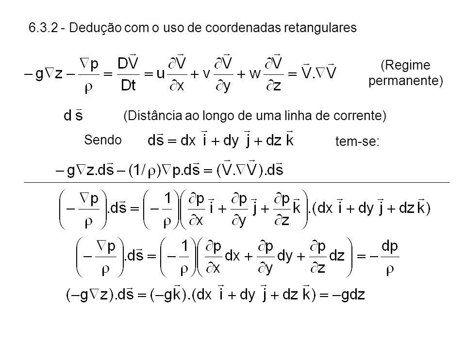 6.3.2 - Dedução com o uso de coordenadas retangulares (Regime permanente) (Distância ao longo de uma linha de corrente) Sendo tem-se: