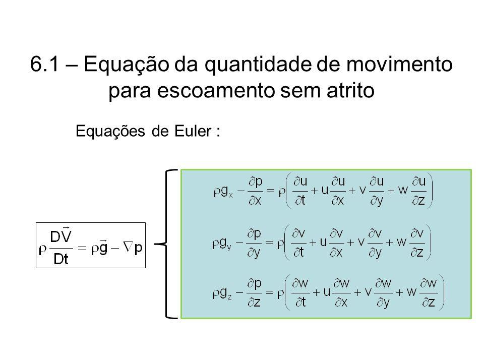 6.1 – Equação da quantidade de movimento para escoamento sem atrito Equações de Euler :