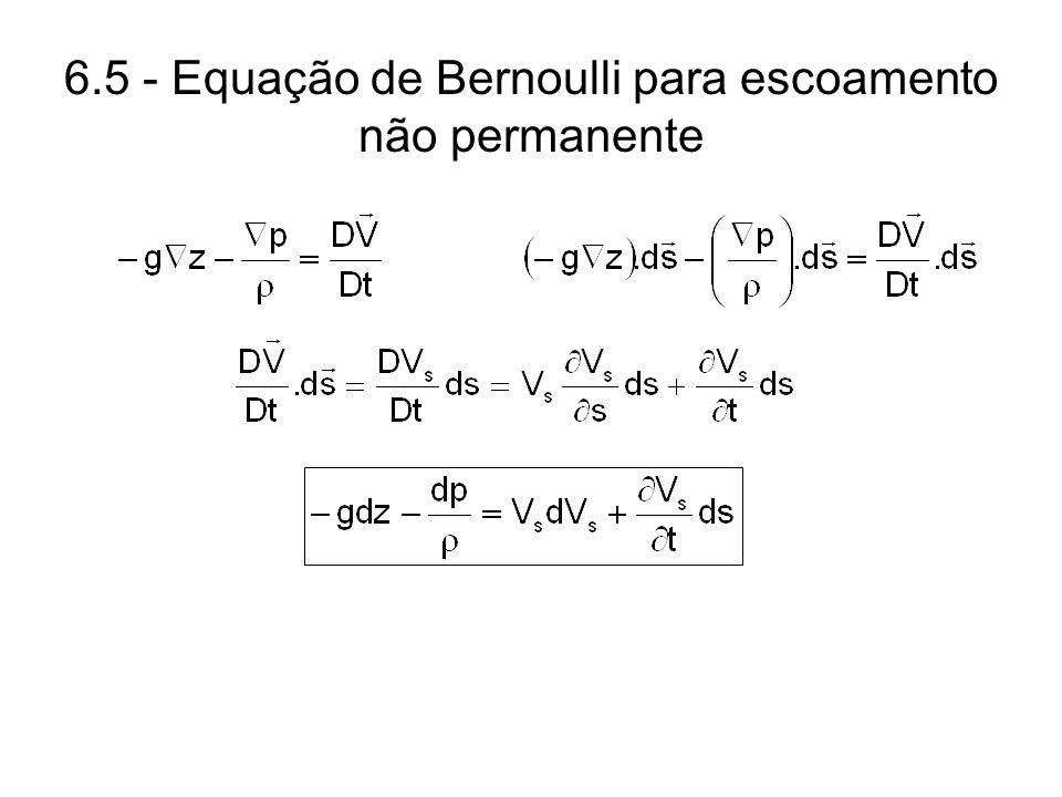 6.5 - Equação de Bernoulli para escoamento não permanente