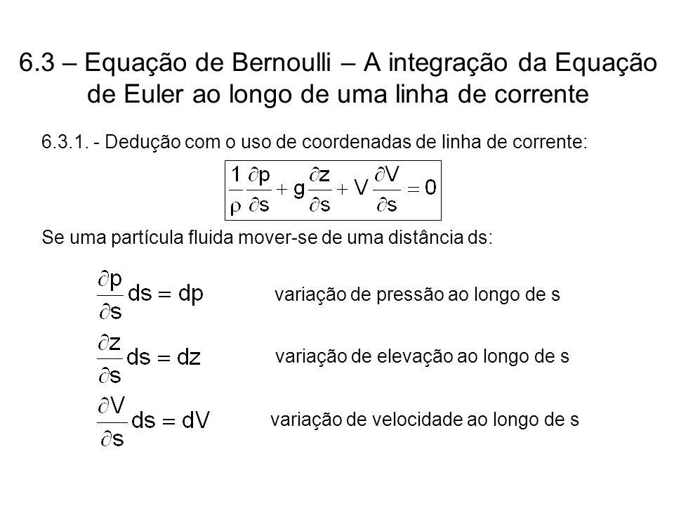 6.3 – Equação de Bernoulli – A integração da Equação de Euler ao longo de uma linha de corrente 6.3.1.