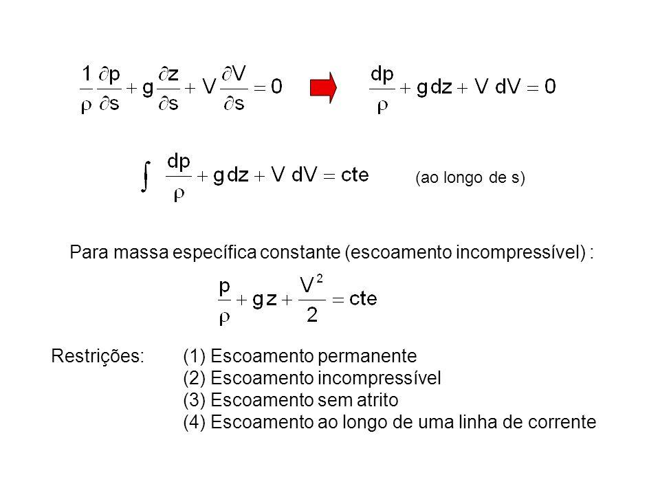 (ao longo de s) Para massa específica constante (escoamento incompressível) : Restrições:(1) Escoamento permanente (2) Escoamento incompressível (3) Escoamento sem atrito (4) Escoamento ao longo de uma linha de corrente
