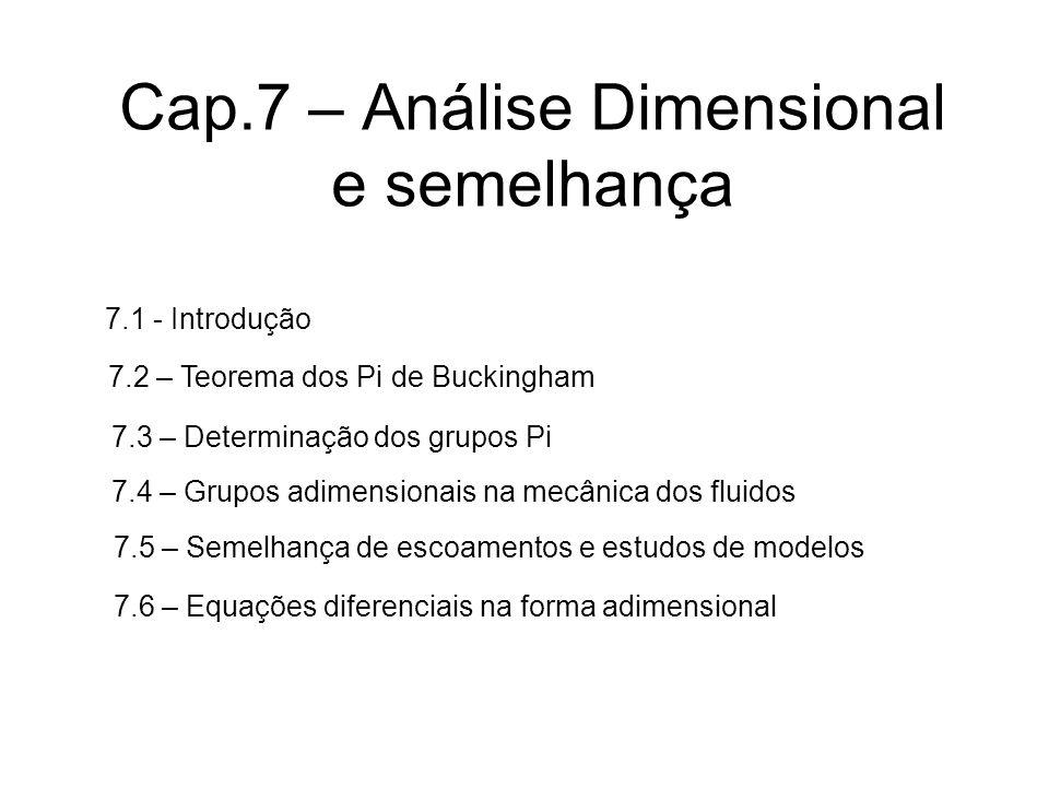 Cap.7 – Análise Dimensional e semelhança 7.1 - Introdução 7.2 – Teorema dos Pi de Buckingham 7.3 – Determinação dos grupos Pi 7.4 – Grupos adimensionais na mecânica dos fluidos 7.5 – Semelhança de escoamentos e estudos de modelos 7.6 – Equações diferenciais na forma adimensional