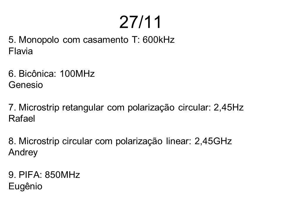 27/11 5. Monopolo com casamento T: 600kHz Flavia 6. Bicônica: 100MHz Genesio 7. Microstrip retangular com polarização circular: 2,45Hz Rafael 8. Micro