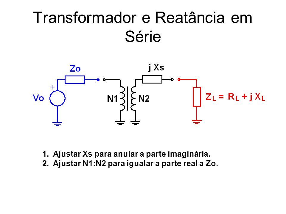 Transformador e Reatância em Série 1.Ajustar Xs para anular a parte imaginária. 2.Ajustar N1:N2 para igualar a parte real a Zo.
