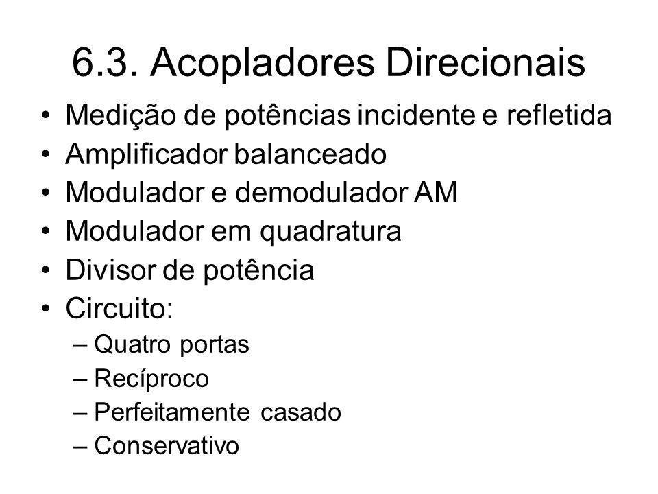 6.3. Acopladores Direcionais Medição de potências incidente e refletida Amplificador balanceado Modulador e demodulador AM Modulador em quadratura Div